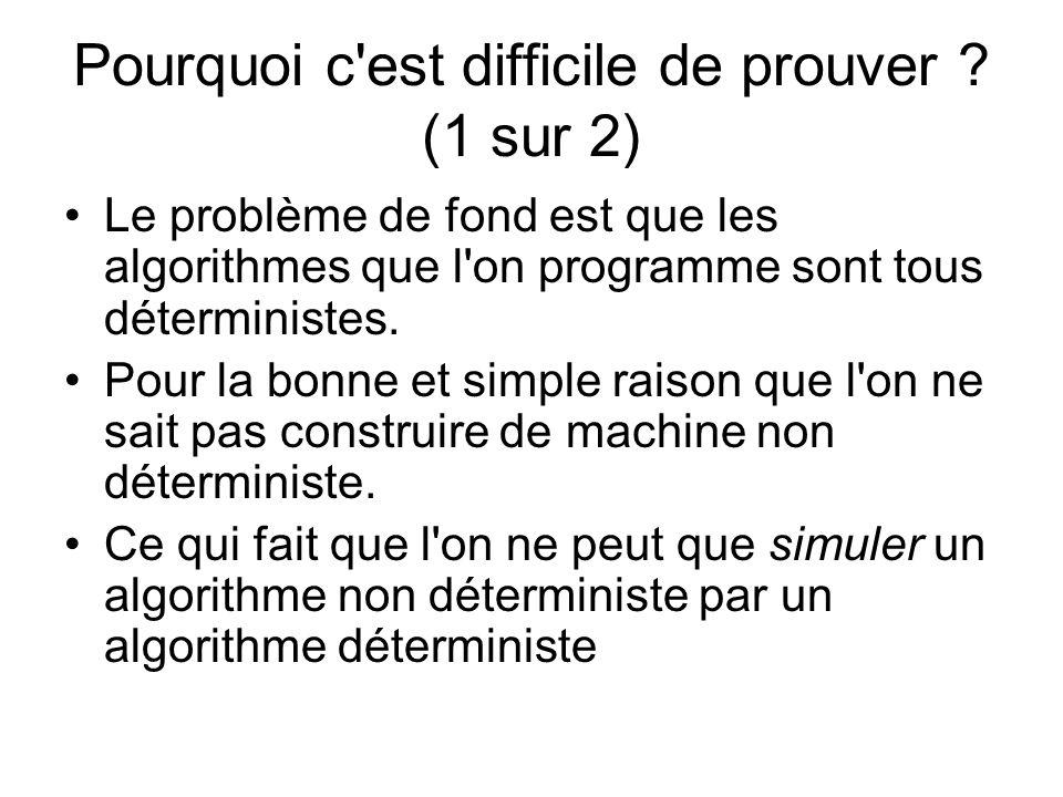 Pourquoi c'est difficile de prouver ? (1 sur 2) Le problème de fond est que les algorithmes que l'on programme sont tous déterministes. Pour la bonne
