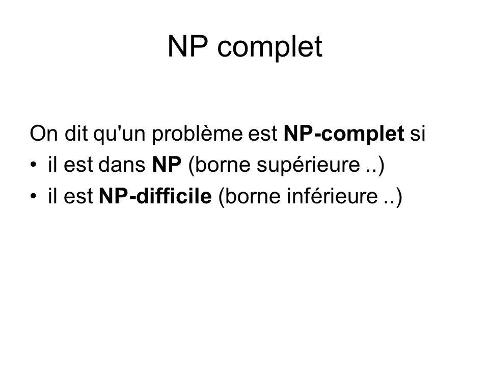 NP complet On dit qu'un problème est NP-complet si il est dans NP (borne supérieure..) il est NP-difficile (borne inférieure..)