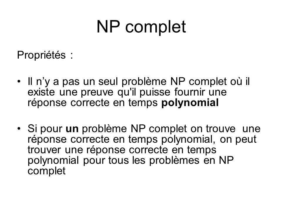 Propriétés : Il ny a pas un seul problème NP complet où il existe une preuve qu'il puisse fournir une réponse correcte en temps polynomial Si pour un