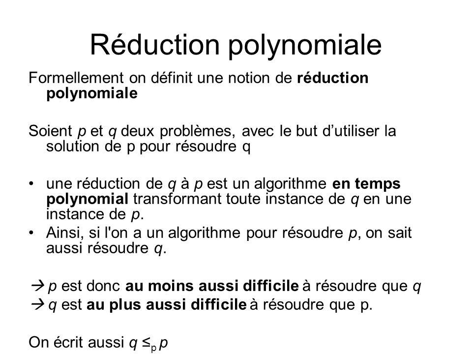 Réduction polynomiale Formellement on définit une notion de réduction polynomiale Soient p et q deux problèmes, avec le but dutiliser la solution de p