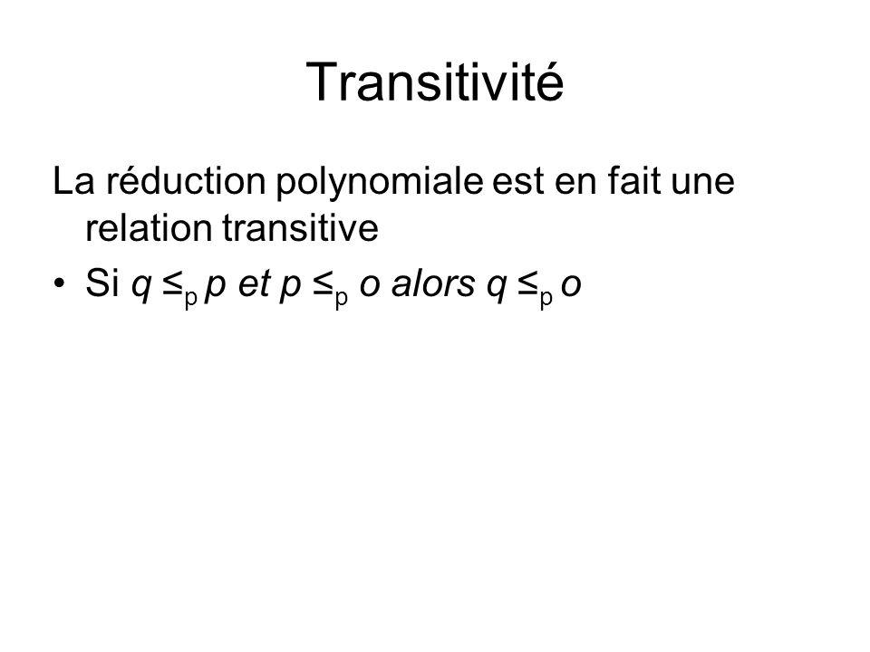 Transitivité La réduction polynomiale est en fait une relation transitive Si q p p et p p o alors q p o