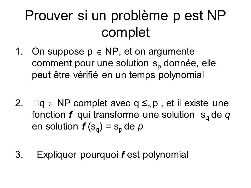 Prouver si un problème p est NP complet 1.On suppose p NP, et on argumente comment pour une solution s p donnée, elle peut être vérifié en un temps po