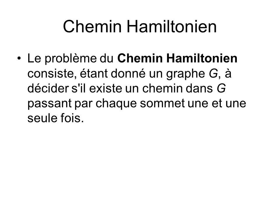 Chemin Hamiltonien Le problème du Chemin Hamiltonien consiste, étant donné un graphe G, à décider s'il existe un chemin dans G passant par chaque somm