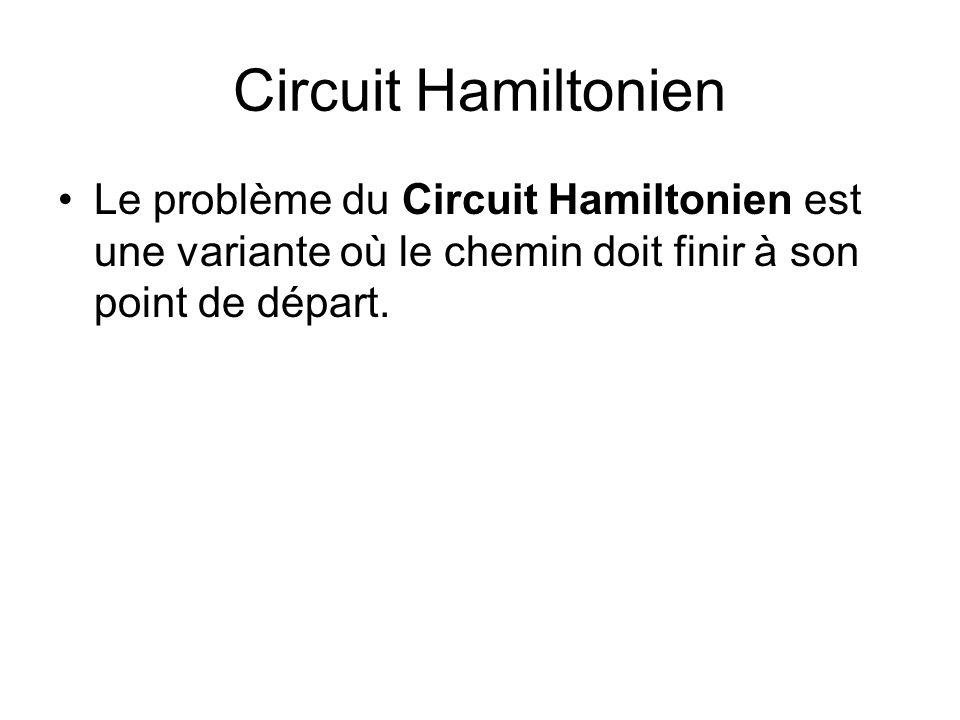 Circuit Hamiltonien Le problème du Circuit Hamiltonien est une variante où le chemin doit finir à son point de départ.