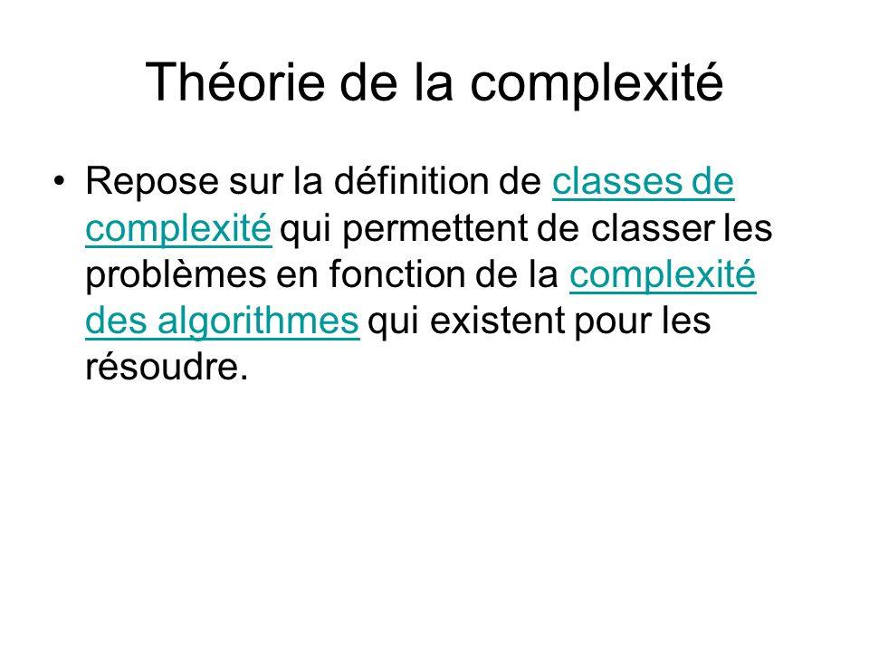 Classes de complexité Parmi les classes les plus courantes, on distingue: –Classe P (polynomial) –Classe NP (Non déterministe Polynomial)