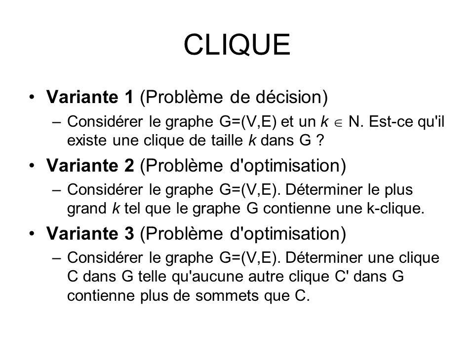 CLIQUE Variante 1 (Problème de décision) –Considérer le graphe G=(V,E) et un k N. Est-ce qu'il existe une clique de taille k dans G ? Variante 2 (Prob
