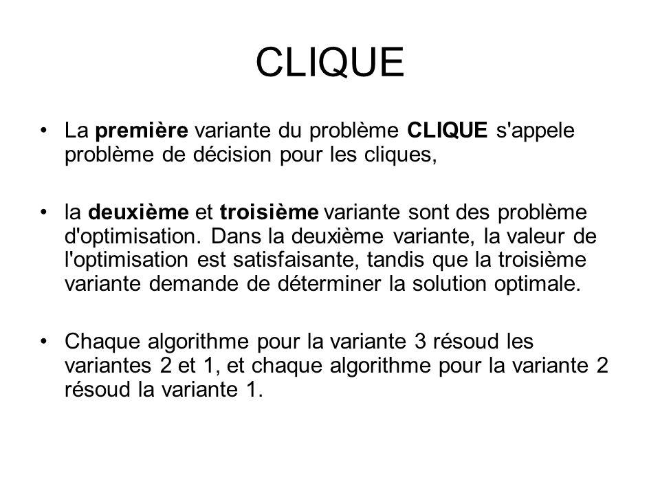 CLIQUE La première variante du problème CLIQUE s'appele problème de décision pour les cliques, la deuxième et troisième variante sont des problème d'o