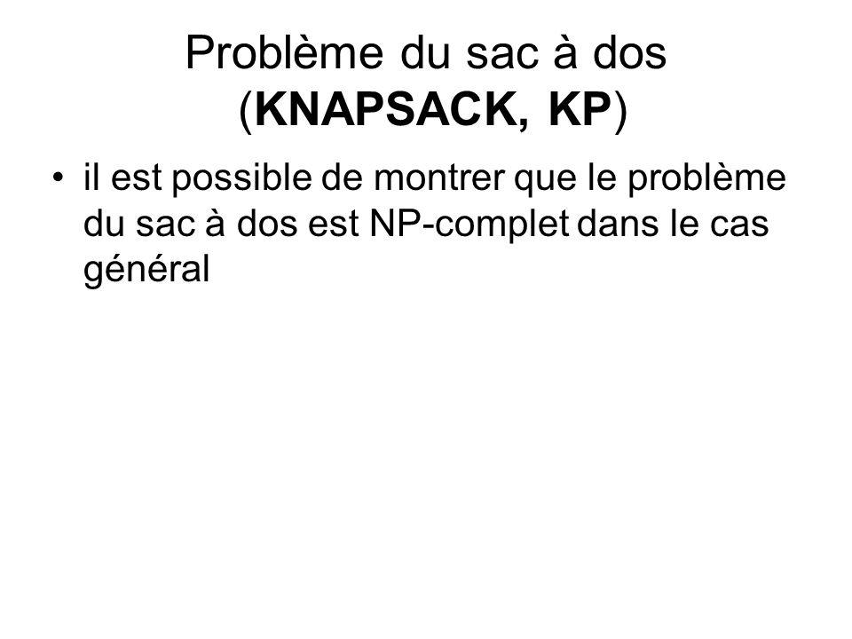 Problème du sac à dos (KNAPSACK, KP) il est possible de montrer que le problème du sac à dos est NP-complet dans le cas général
