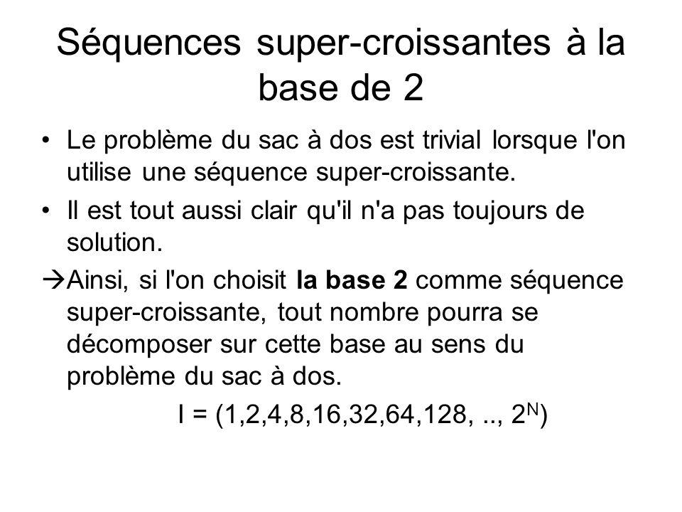 Séquences super-croissantes à la base de 2 Le problème du sac à dos est trivial lorsque l'on utilise une séquence super-croissante. Il est tout aussi