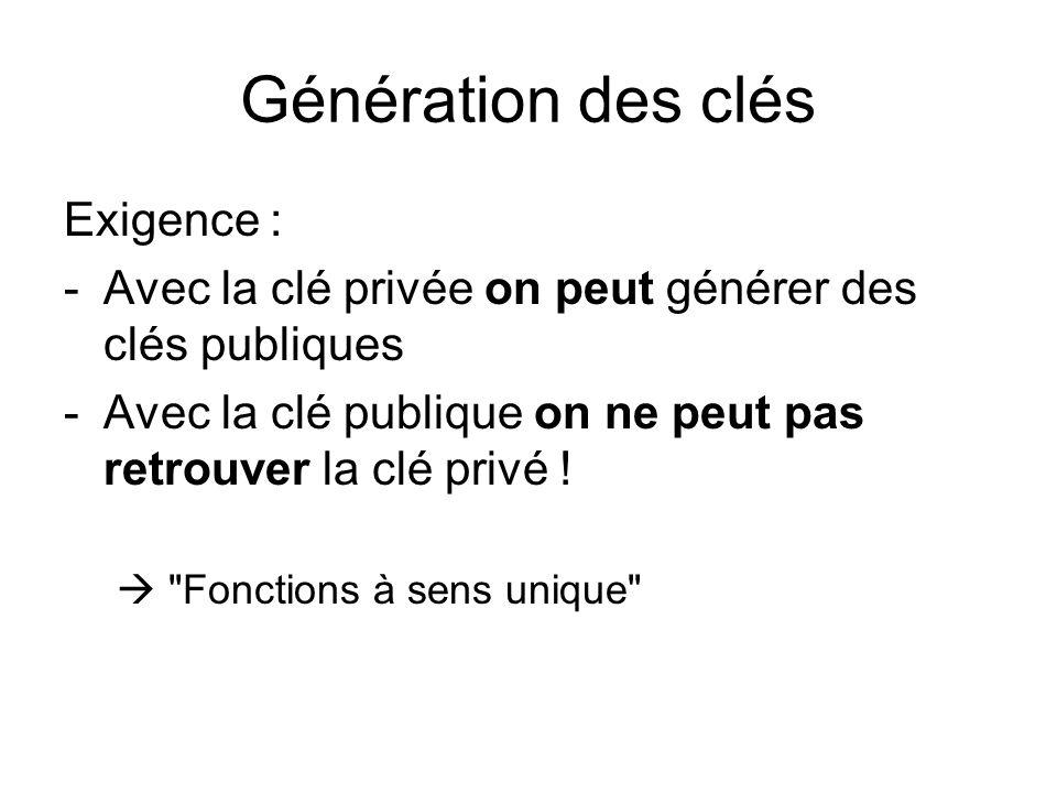 Génération des clés Exigence : -Avec la clé privée on peut générer des clés publiques -Avec la clé publique on ne peut pas retrouver la clé privé !