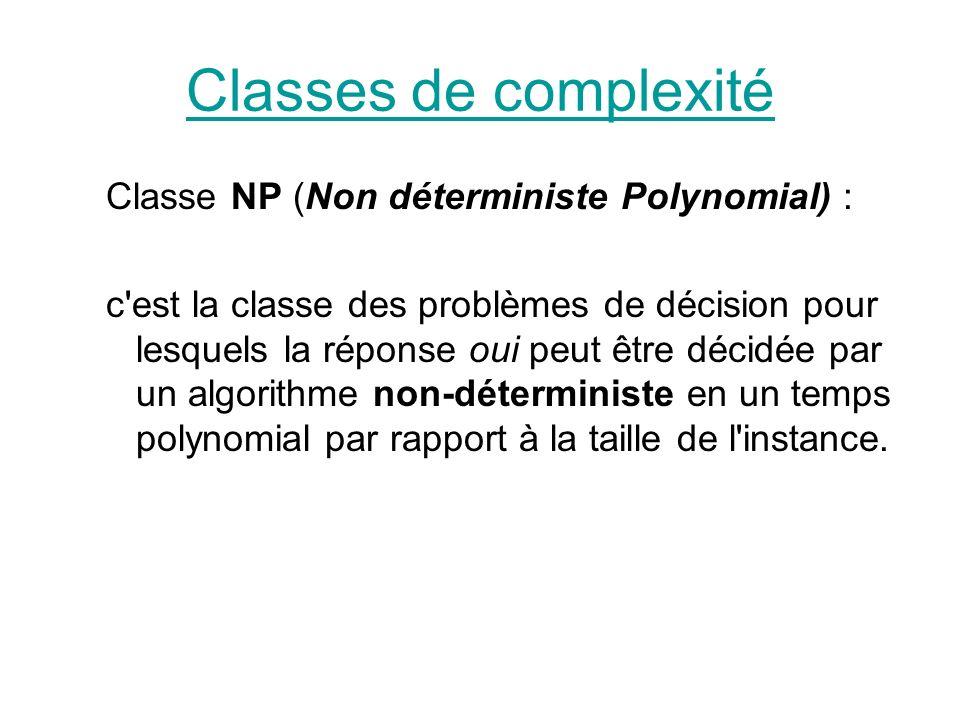NP complet On dit qu un problème est NP-complet si il est dans NP (borne supérieure..) il est NP-difficile (borne inférieure..)