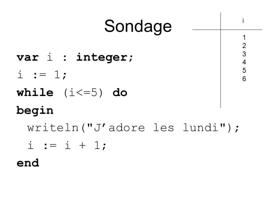 Sondage var i : integer; i := 1; while (i<=5) do begin writeln( Jadore les lundi ); i := i + 1; end i123456i123456