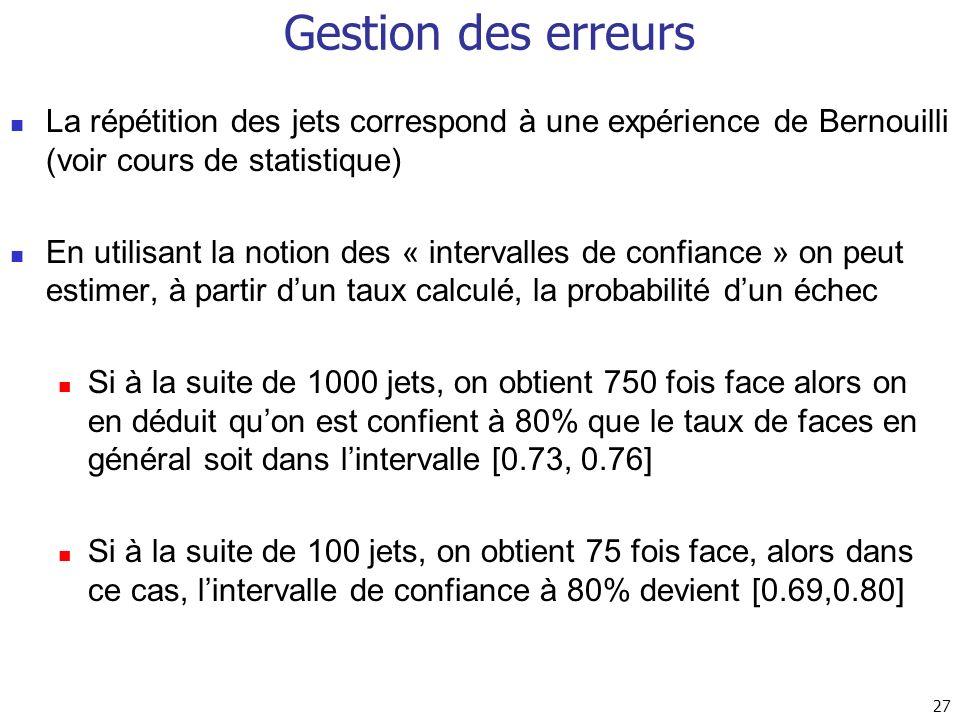 27 Gestion des erreurs La répétition des jets correspond à une expérience de Bernouilli (voir cours de statistique) En utilisant la notion des « inter