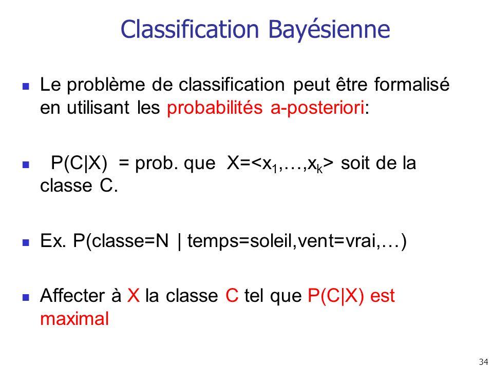 34 Classification Bayésienne Le problème de classification peut être formalisé en utilisant les probabilités a-posteriori: P(C X) = prob. que X= soit