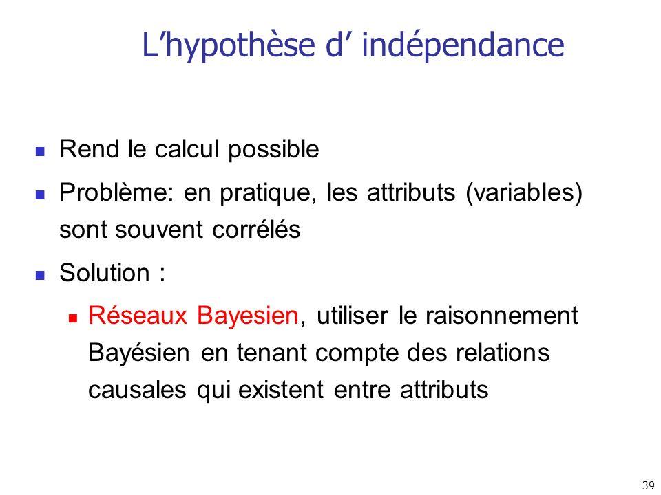 39 Lhypothèse d indépendance Rend le calcul possible Problème: en pratique, les attributs (variables) sont souvent corrélés Solution : Réseaux Bayesie
