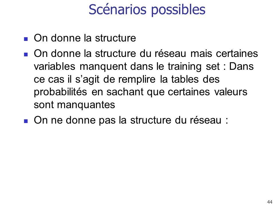 44 Scénarios possibles On donne la structure On donne la structure du réseau mais certaines variables manquent dans le training set : Dans ce cas il s