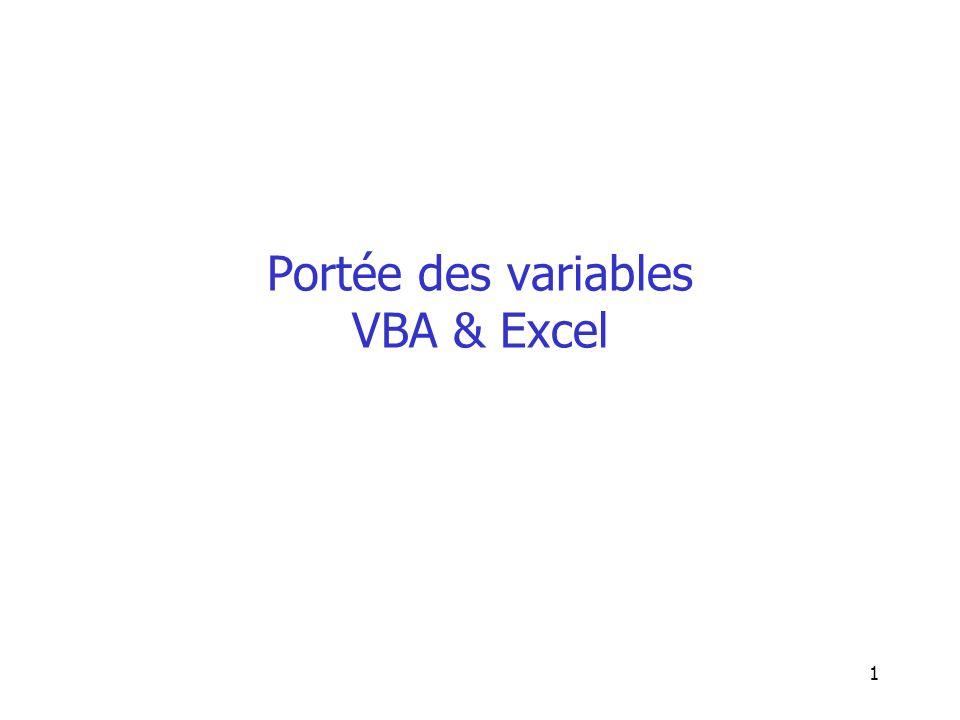 1 Portée des variables VBA & Excel