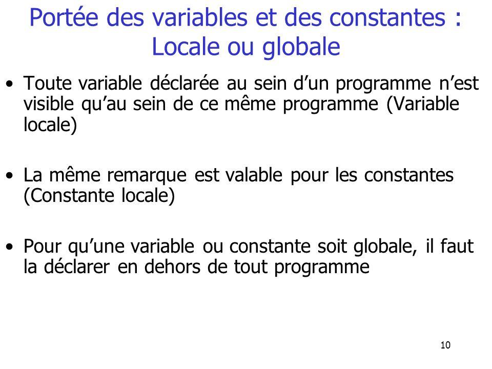 10 Portée des variables et des constantes : Locale ou globale Toute variable déclarée au sein dun programme nest visible quau sein de ce même programm