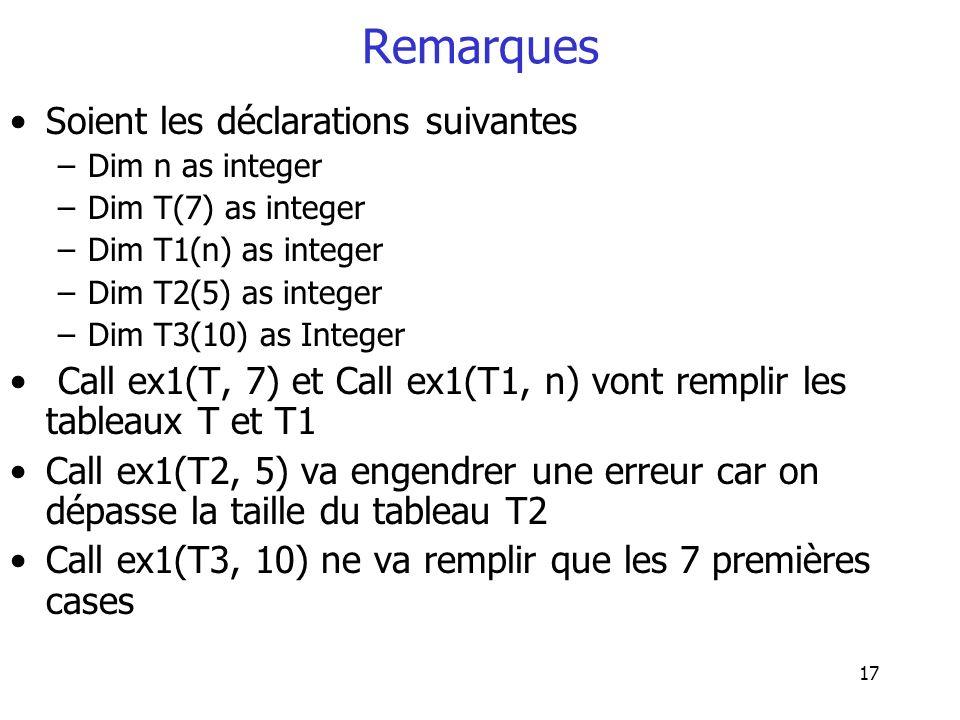17 Remarques Soient les déclarations suivantes –Dim n as integer –Dim T(7) as integer –Dim T1(n) as integer –Dim T2(5) as integer –Dim T3(10) as Integ