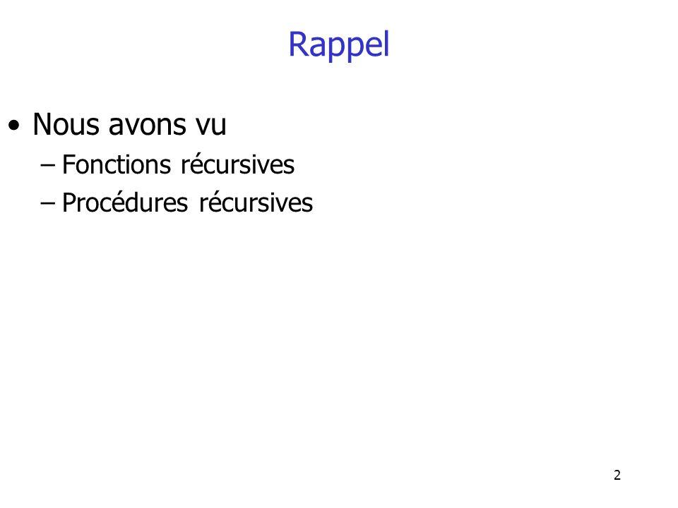 2 Rappel Nous avons vu –Fonctions récursives –Procédures récursives