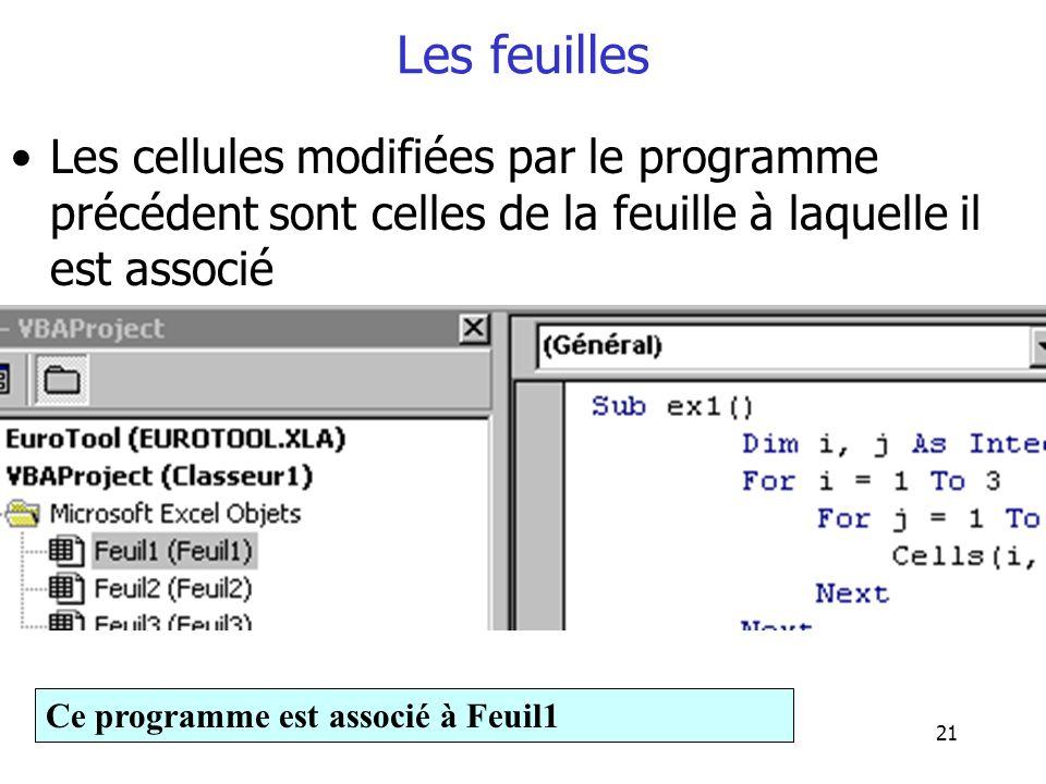 21 Les feuilles Les cellules modifiées par le programme précédent sont celles de la feuille à laquelle il est associé Ce programme est associé à Feuil