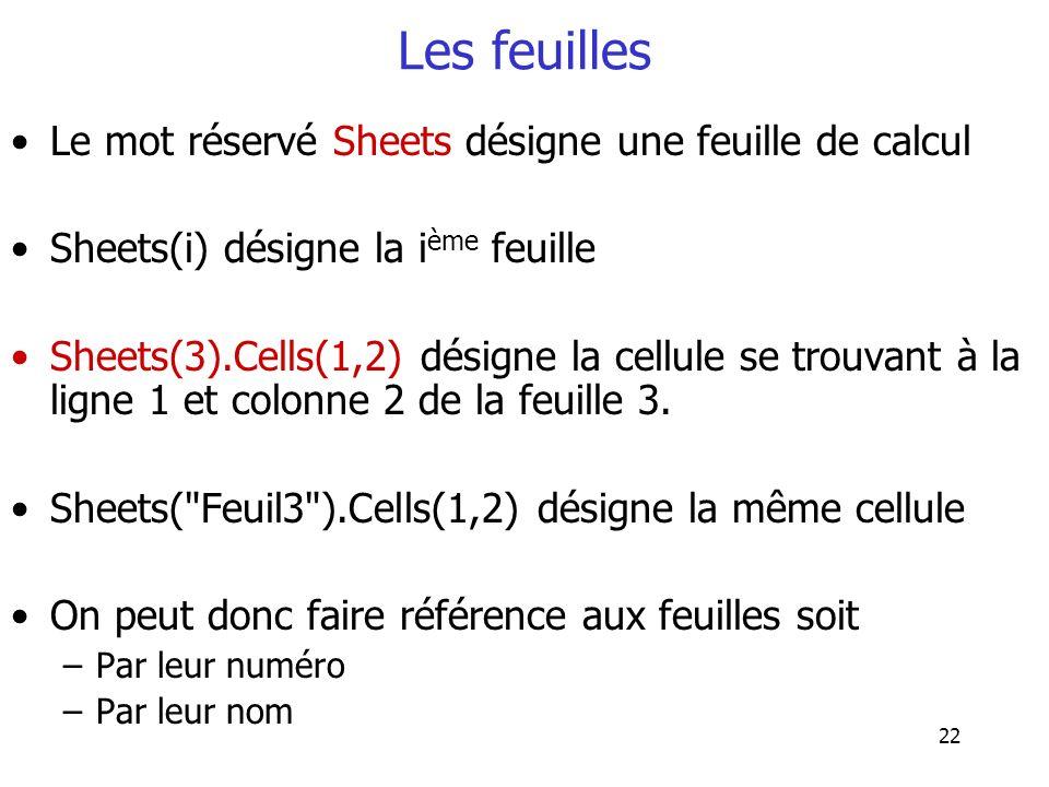 22 Les feuilles Le mot réservé Sheets désigne une feuille de calcul Sheets(i) désigne la i ème feuille Sheets(3).Cells(1,2) désigne la cellule se trou