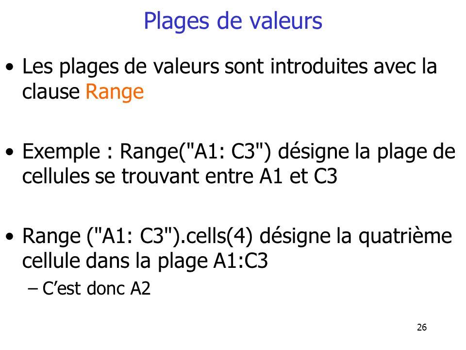 26 Plages de valeurs Les plages de valeurs sont introduites avec la clause Range Exemple : Range(