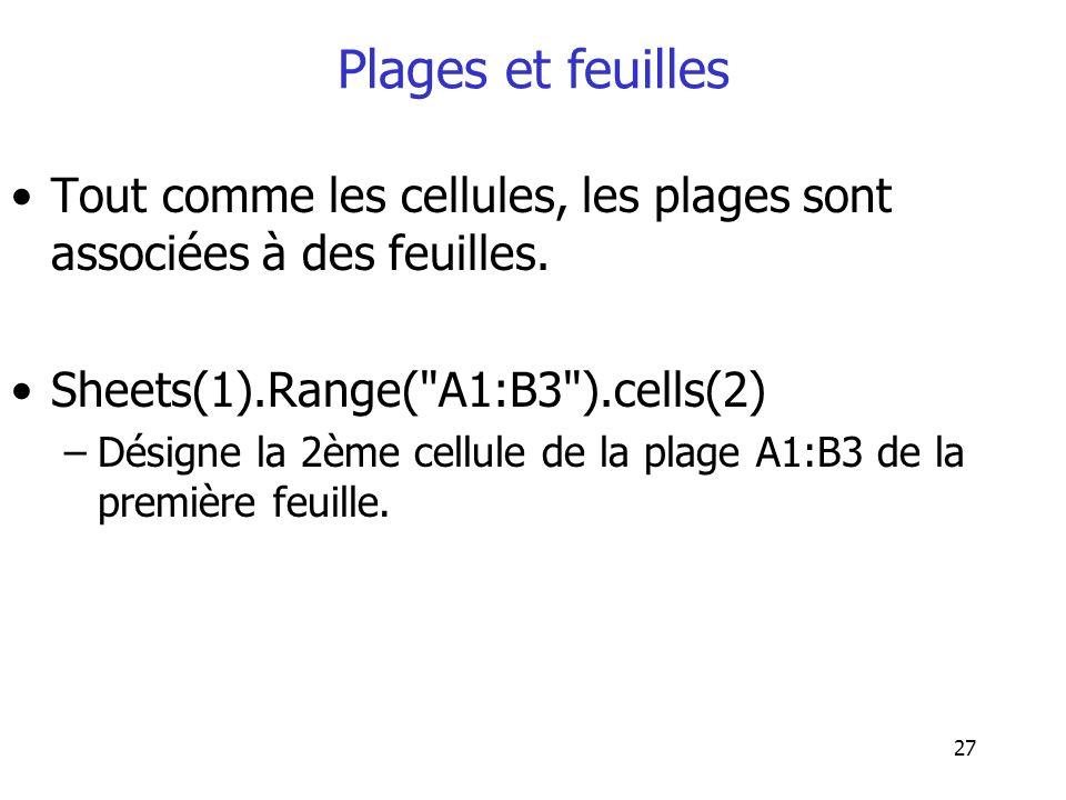 27 Plages et feuilles Tout comme les cellules, les plages sont associées à des feuilles. Sheets(1).Range(