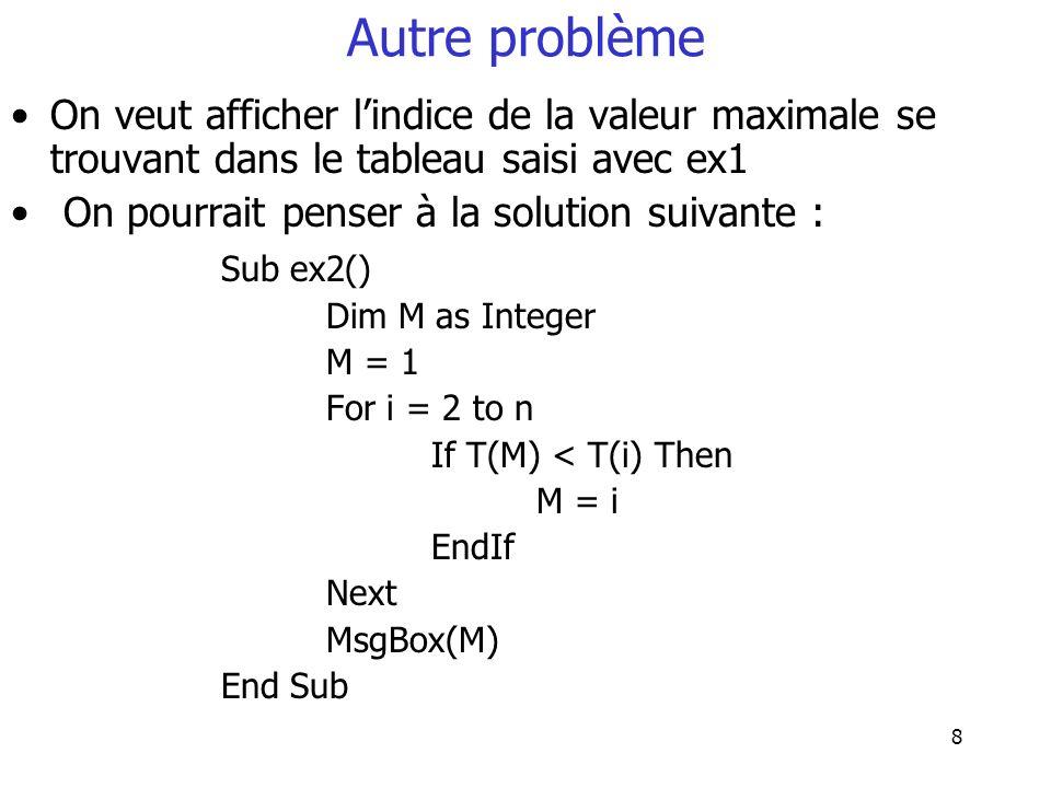 8 Autre problème On veut afficher lindice de la valeur maximale se trouvant dans le tableau saisi avec ex1 On pourrait penser à la solution suivante :