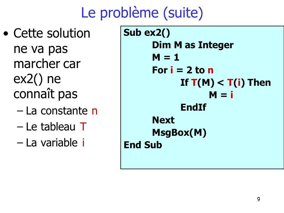 9 Le problème (suite) Cette solution ne va pas marcher car ex2() ne connaît pas –La constante n –Le tableau T –La variable i Sub ex2() Dim M as Intege