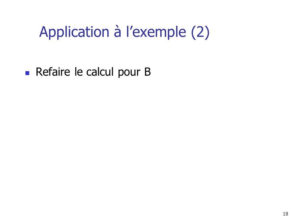 18 Application à lexemple (2) Refaire le calcul pour B