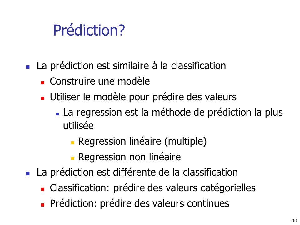 40 Prédiction? La prédiction est similaire à la classification Construire une modèle Utiliser le modèle pour prédire des valeurs La regression est la