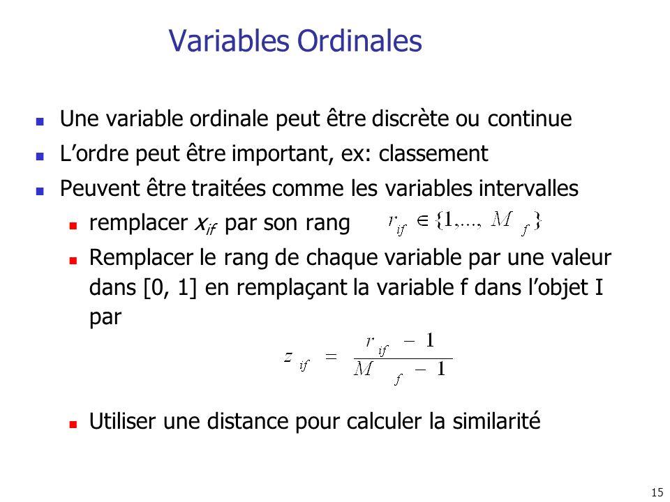 15 Variables Ordinales Une variable ordinale peut être discrète ou continue Lordre peut être important, ex: classement Peuvent être traitées comme les