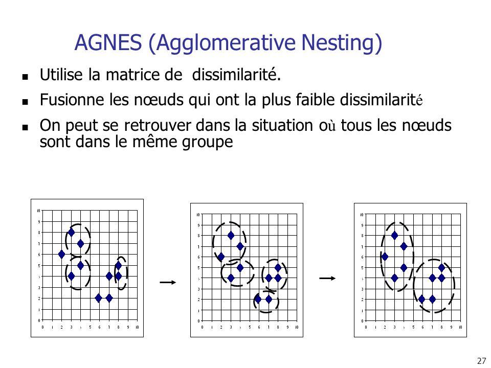 27 AGNES (Agglomerative Nesting) Utilise la matrice de dissimilarité. Fusionne les nœuds qui ont la plus faible dissimilarit é On peut se retrouver da