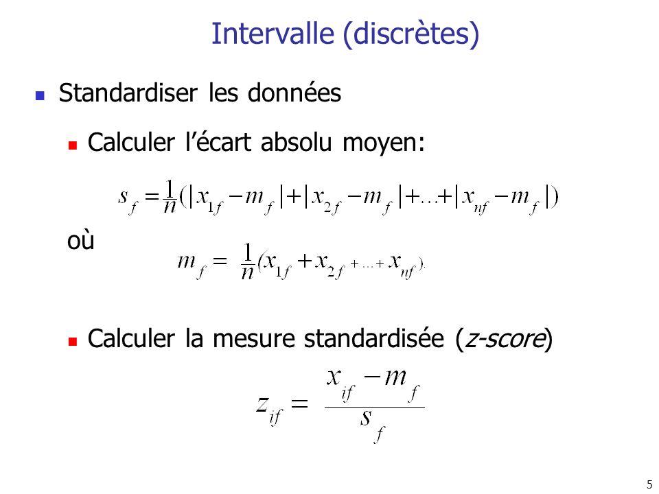 5 Intervalle (discrètes) Standardiser les données Calculer lécart absolu moyen: où Calculer la mesure standardisée (z-score)