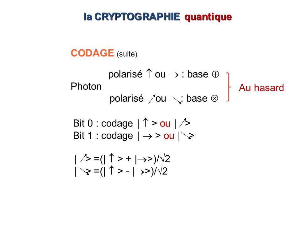 | > =(| > + | >)/2 | > =(| > - | >)/2 Bit 0 : codage | > ou | > Bit 1 : codage | > ou | > CODAGE (suite) polarisé ou : base Photon polarisé ou : base