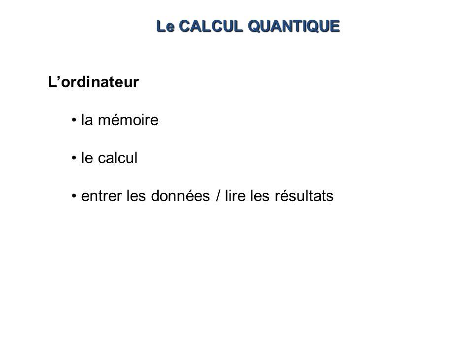 Lordinateur la mémoire le calcul entrer les données / lire les résultats Le CALCUL QUANTIQUE