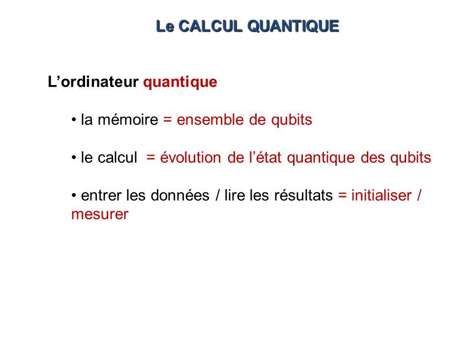 Lordinateur quantique la mémoire = ensemble de qubits le calcul = évolution de létat quantique des qubits entrer les données / lire les résultats = in