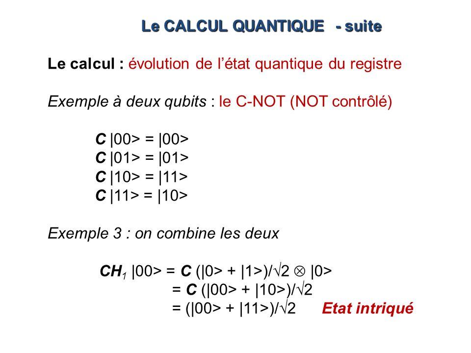 Le calcul : évolution de létat quantique du registre Exemple à deux qubits : le C-NOT (NOT contrôlé) C |00> = |00> C |01> = |01> C |10> = |11> C |11>