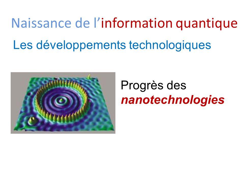 Naissance de linformation quantique Les développements technologiques Progrès des nanotechnologies