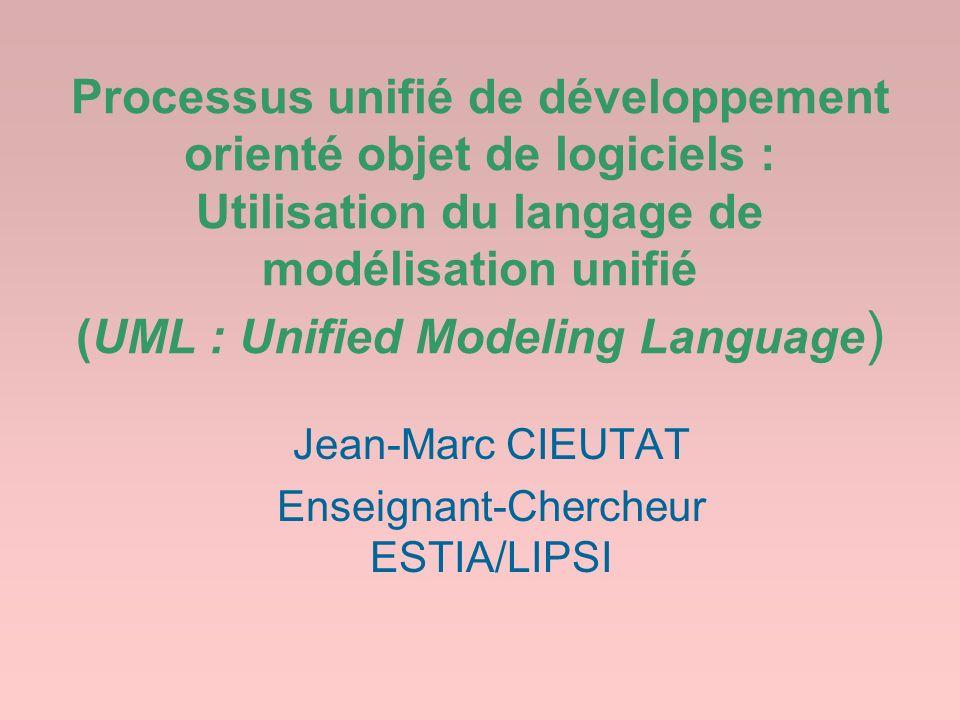 Processus unifié de développement orienté objet de logiciels : Utilisation du langage de modélisation unifié (UML : Unified Modeling Language ) Jean-M