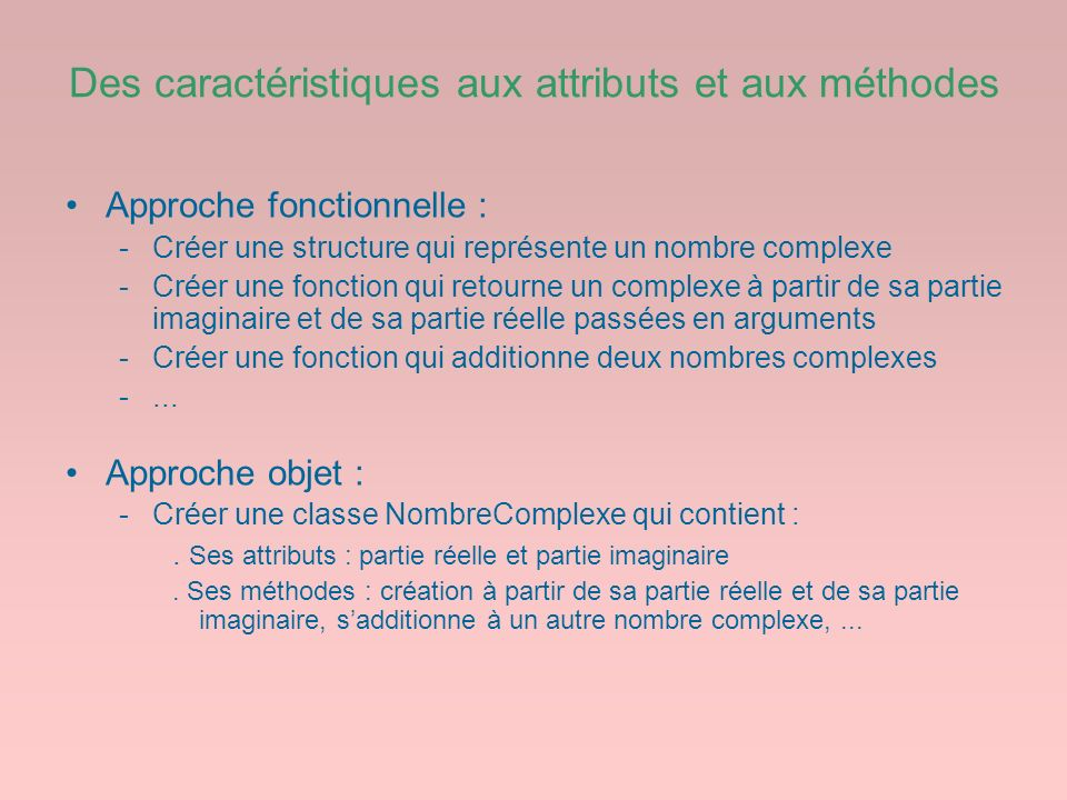 Des caractéristiques aux attributs et aux méthodes Approche fonctionnelle : -Créer une structure qui représente un nombre complexe -Créer une fonction
