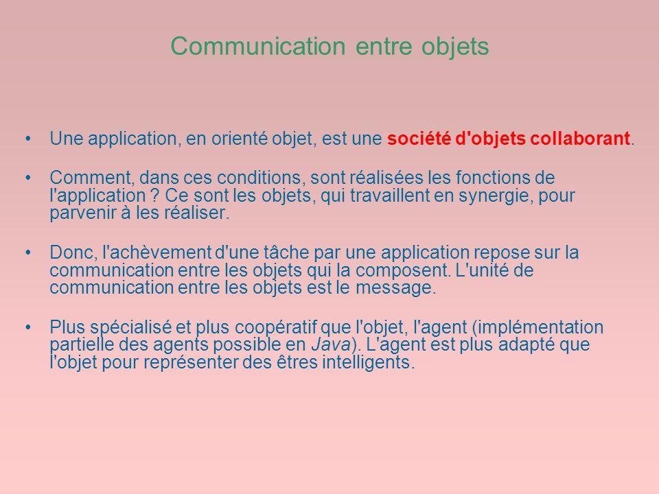 Communication entre objets Une application, en orienté objet, est une société d'objets collaborant. Comment, dans ces conditions, sont réalisées les f