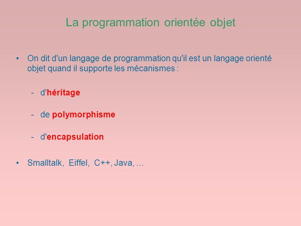 La programmation orientée objet On dit d'un langage de programmation qu'il est un langage orienté objet quand il supporte les mécanismes : -d'héritage