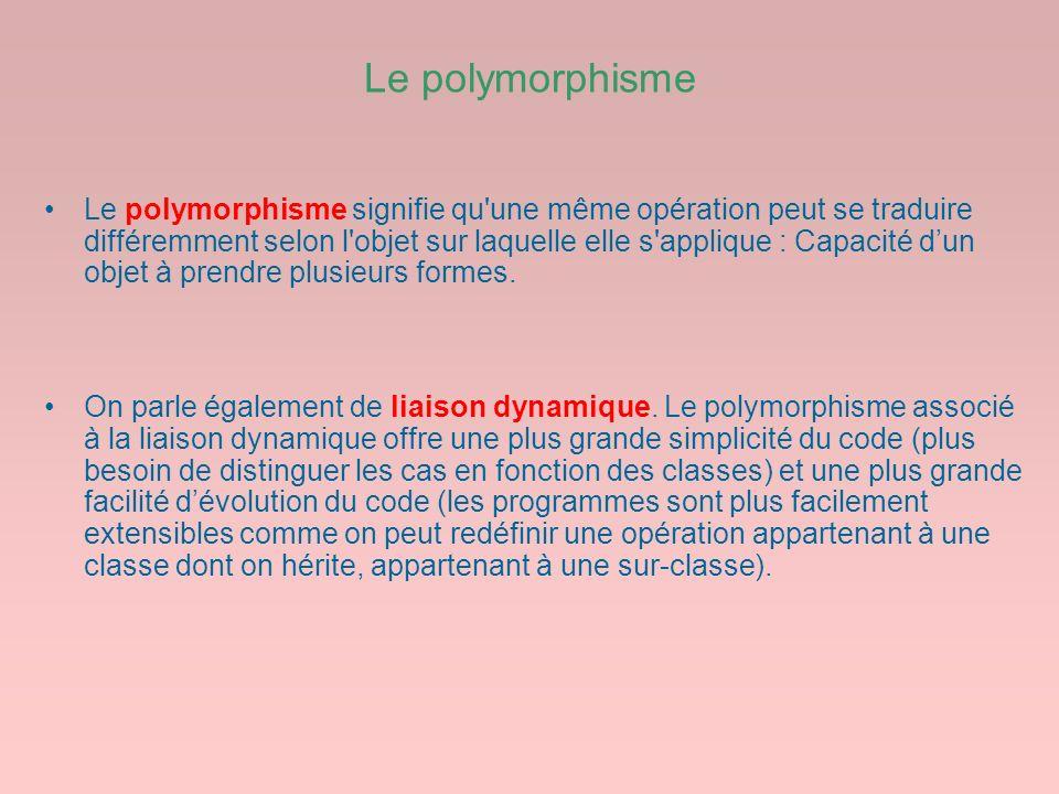 Le polymorphisme Le polymorphisme signifie qu'une même opération peut se traduire différemment selon l'objet sur laquelle elle s'applique : Capacité d