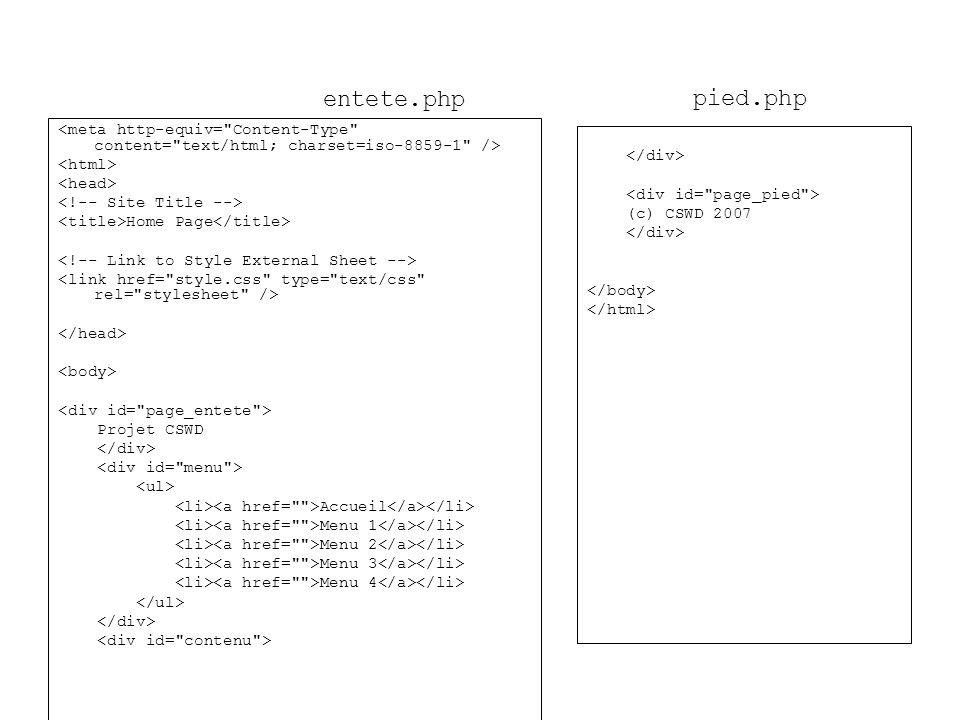 Home Page Projet CSWD Accueil Menu 1 Menu 2 Menu 3 Menu 4 (c) CSWD 2007 entete.php pied.php