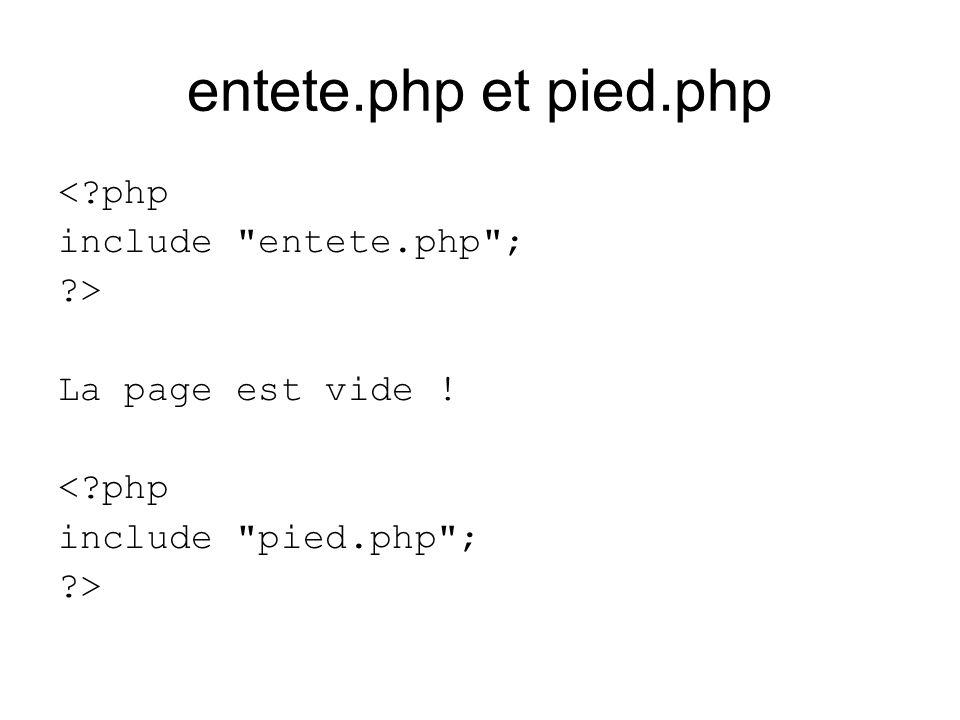entete.php et pied.php < php include entete.php ; > La page est vide .