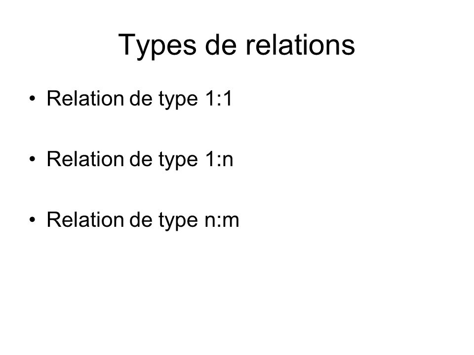 Types de relations Relation de type 1:1 Relation de type 1:n Relation de type n:m