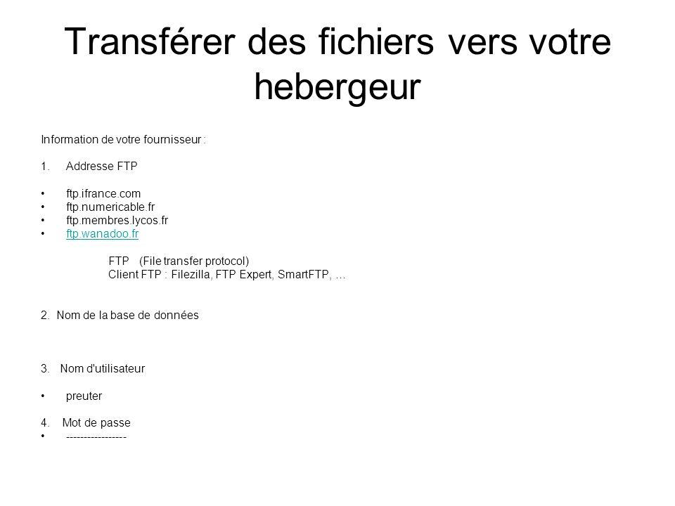 Transférer des fichiers vers votre hebergeur Information de votre fournisseur : 1.Addresse FTP ftp.ifrance.com ftp.numericable.fr ftp.membres.lycos.fr ftp.wanadoo.fr FTP (File transfer protocol) Client FTP : Filezilla, FTP Expert, SmartFTP, … 2.