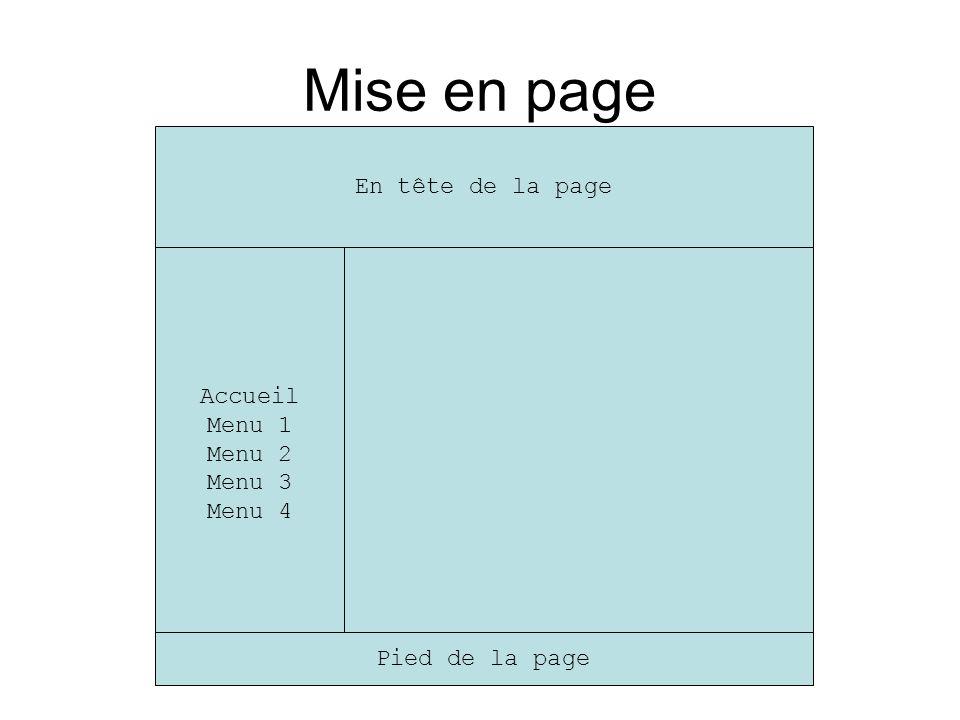 Mise en page Accueil Menu 1 Menu 2 Menu 3 Menu 4 En tête de la page Pied de la page